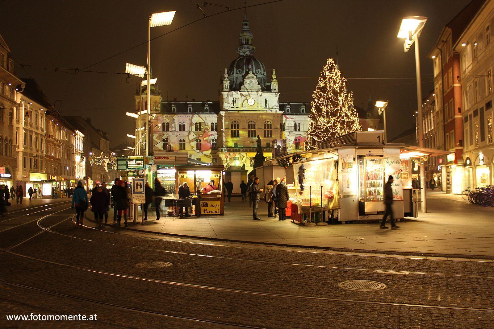 hauptplatz graz nacht advent - Adventszeit in Graz - Nette Plätze