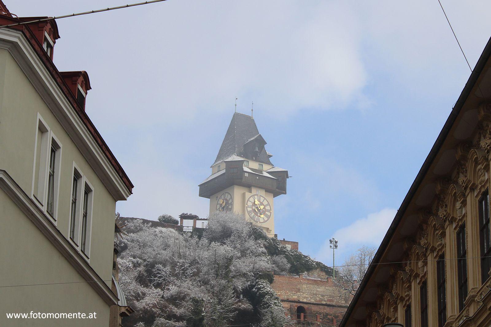uhrturm graz winter - Uhrturm am Schloßberg in Graz
