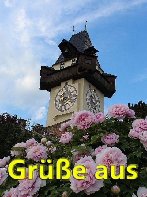 Uhrturm mit Pfingstrosen grusskarte 480x640 - Liebe Grüße aus Graz - Grazer Uhrturm