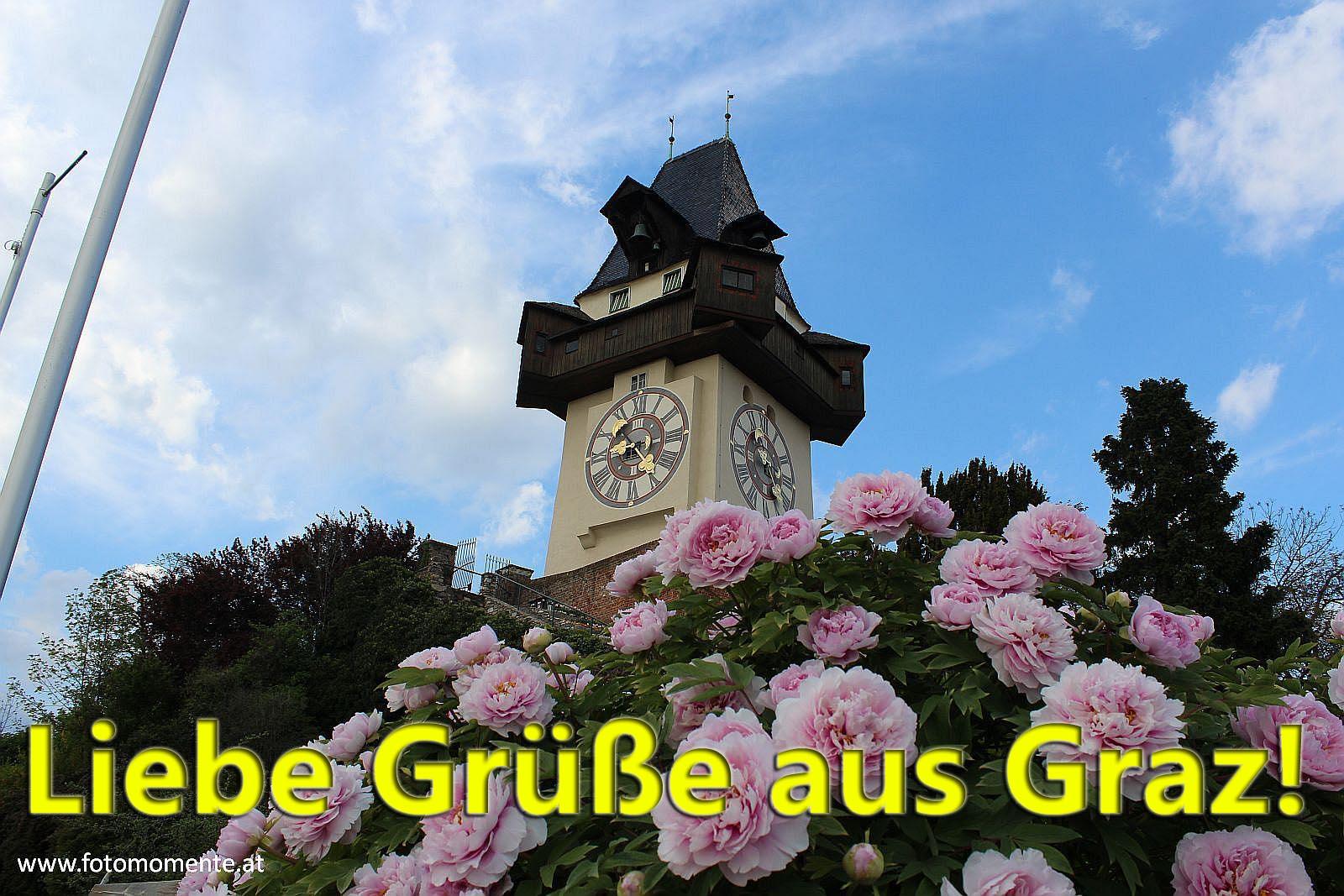 Uhrturm mit Pfingstrosen grusskarte - Liebe Grüße aus Graz - Grazer Uhrturm