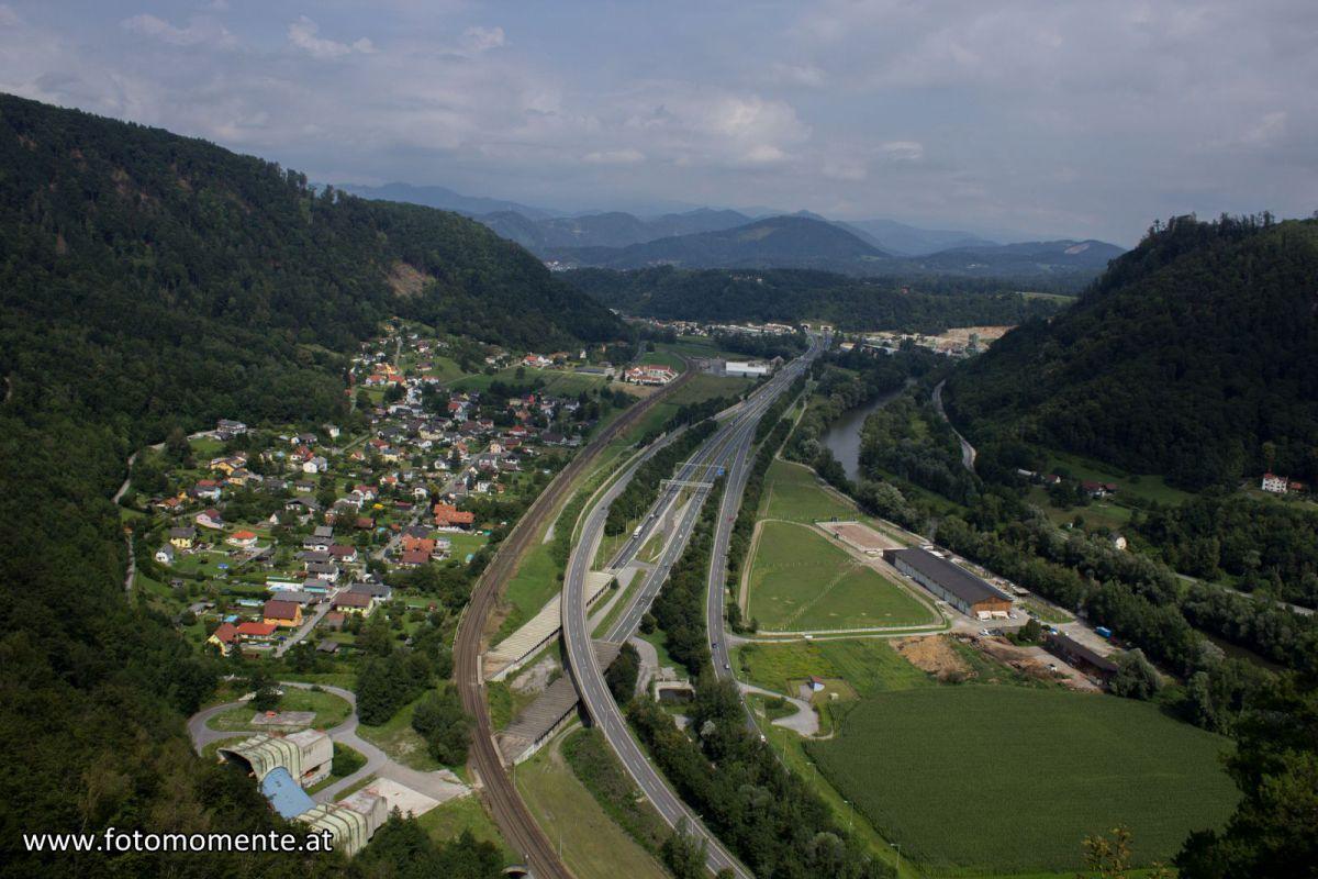 Ausblick vom Jungfernsprung in Graz-Gösting in Richtung Nord